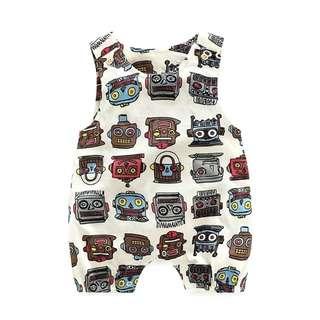🚚 嬰兒連身衣機器人吊帶背心連身褲100%精梳棉春季薄款,66公分,全新一件,提早買不能穿