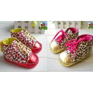 Red │ Pink Leopard Pre-walker Baby Girl's Shoes - Soft Soles