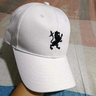 Plain White Cap With Lion Emblem - Adjustable size