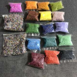 Glass beads size of sand.  All for $15 each pkt contains hundreds