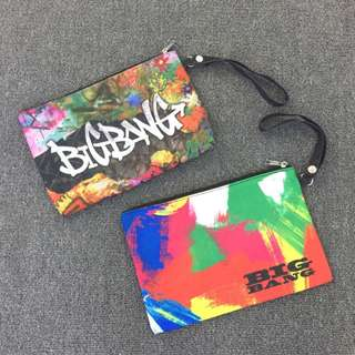 BIGBANG  演唱會 塗鴉風 周邊 AB面帆布化妝袋 配手腕帶收納包 隨手包