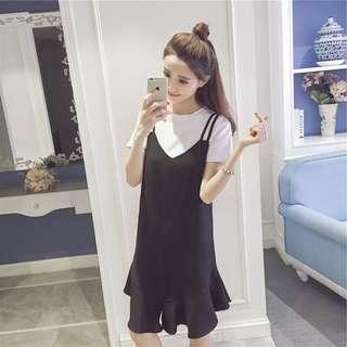 Monochrome Ruffled Designed Korean Style Fake Two Piece Dress