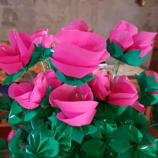 Beautiful flowers - handmade from recycled materials