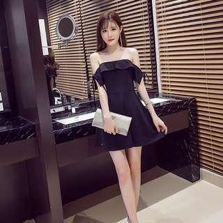 Black Coloured Korean Style Ribbon Tie Off-Shoulders Skater Dress