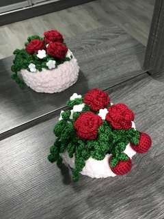 Apples , roses in a pinky basket
