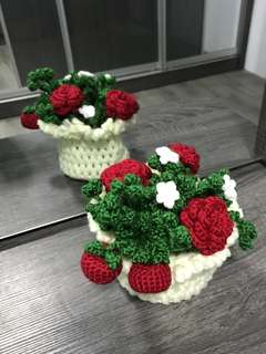 Apples , roses in off white basket