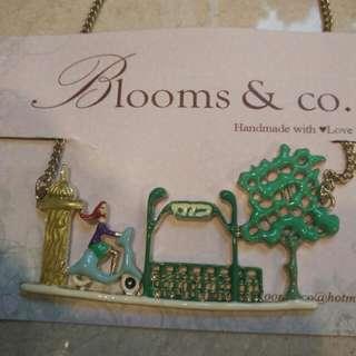 Handmade Vespa girl in garden pendant necklace brand new