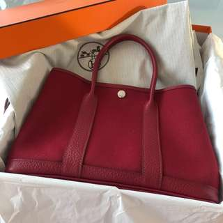 愛馬仕Hermes Garden Party GP 30 Rouge Grenat Red Canvas