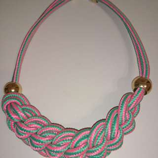 Necklace 韓風 粗身繩結頸鍊 頸鏈 粉紅 & 湖水綠