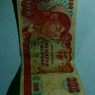Uang kuno 100 rupiah tahun 1968