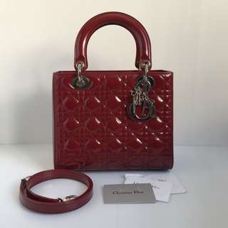 Authentic Lady Dior Medium Burgundy Patent Silver Hardware
