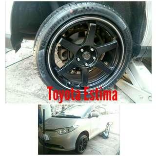 Tyre 225/45 R18 Membat on Toyota Estima 🐕 Super Offer 🙋♂️