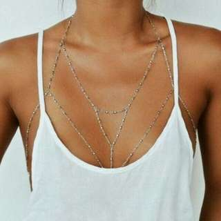 Brandnew Forever21 Crystal Gold Bodychain with Necklace