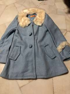 Light blue Autumn/Winter Jacket Coat with removable fur collar