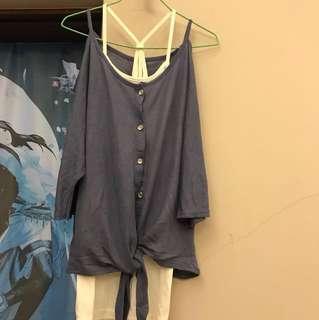 蝙蝠袖藍色罩衫 #換季五折