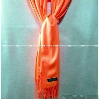 🚚 {Runway.tw} 土耳其手工厚織 CASHMERE喀什米爾羊絨 Pashmina披肩圍巾184x74毛毯~ 豔陽橘