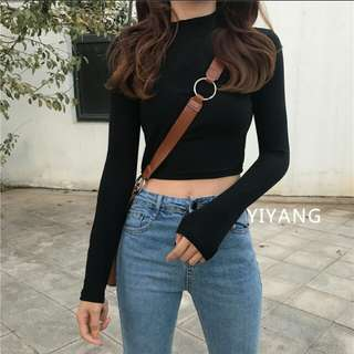 Black Long Sleeve Turtle Neck Crop Top