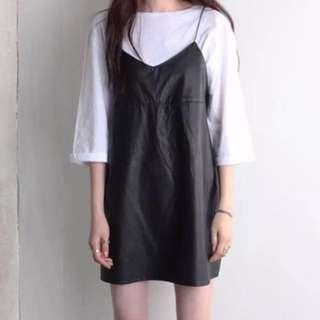 Tumblr Ulzzang Korean Style Black Leather Slip On Dress ❤️