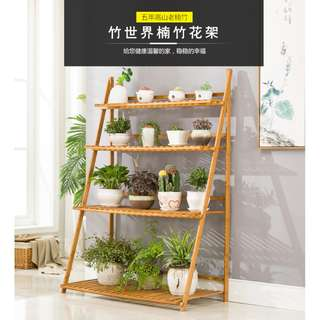 3 layers Solid Bamboo Plants Shelf Rack Home Garden Furniture Eco Friendly Country Style