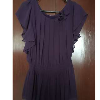 Violet Sheer Top with Layered Sleeves