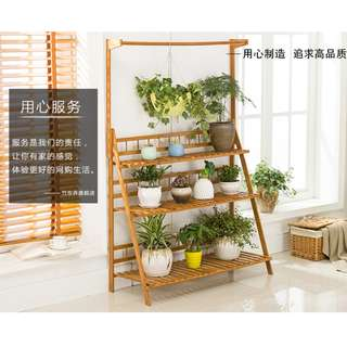 Share Report[bamboo shelf rack]hanger + fence solid Bamboo Plants Shelf Rack Home Garden
