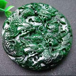 🎍Grade A Full Green Five Dragons 龙 Jadeite Jade Pendant/Display🎍
