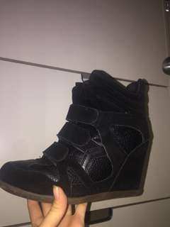 Black strap wedge heels