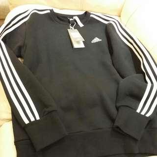 ADIDAS black sweater Jacket fleece 黑色抓毛衛衣