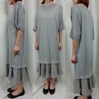 正韓灰色短袖針織魚尾洋裝大尺碼孕婦媽媽韓系長洋