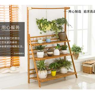 Share Report[bamboo shelf rack]hanger + fence solid Bamboo Plants Shelf Rack Home Garden
