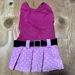 Pink polka dot dress for dog