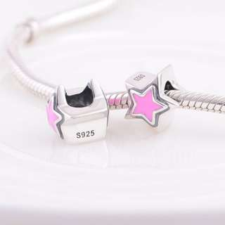 Code MS79 - Star Bead 100% 925 Sterling Silver Charm, Chain Is Not Included, Compatible With Pandora