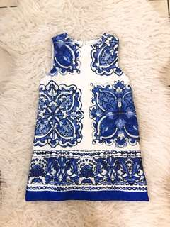 Dress anak blue white
