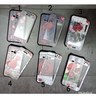 New case flower plus tempred glass for samsung j1 ace