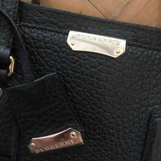 BURBERRY black leather tote
