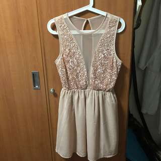 F21 Beige Sequin Dress