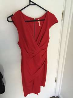 Red wrap front dress