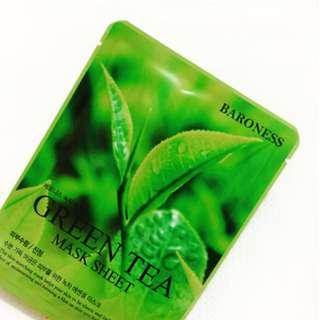 BARONESS Green Tea Mask Sheet Made in KOREA 21g.