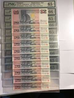 Rare!! 10 run of Singapore Purple Ship series $2 BN Prefix Replacement TDLR PMG 65/66 all EPQ