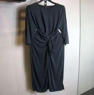 歐美灰色長版洋裝孕婦綁腰長洋氣質文青度假女神