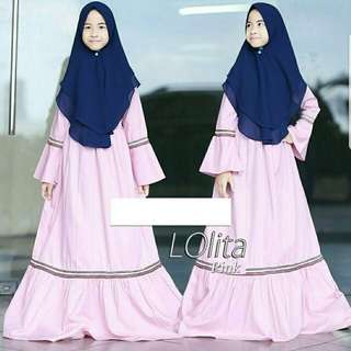 Set dress muslim ank perempuan usia 8-12 th