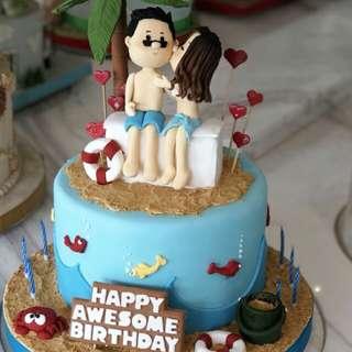 Couple beach cake