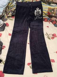 Juicy Couture silk velvet dark blue pant sportswear 運動風絲絨褲