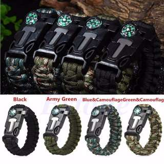 Paracord survival bracelet compass/flint/fire starting camping