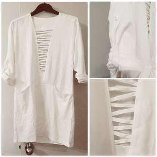 White cage plunge shift dress
