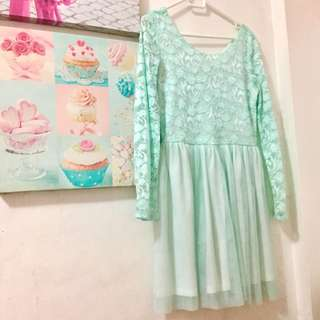 Long sleeve Mint Green Dress