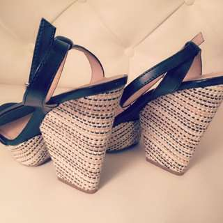 Black Strappy Woven Wedges