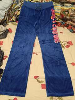 Juicy Couture pant silk velvet blue sportswear 彩藍色絲絨運動褲 明星款