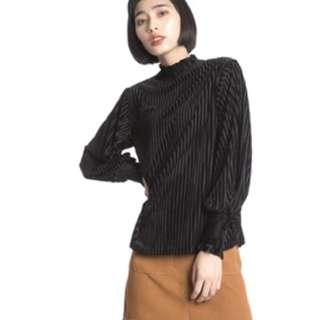 全新 現貨 cereal 絲絨花邊袖口高領上衣 長袖 縮口袖 女裝 黑