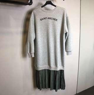 灰色長袖字母拼接長版文青懶人洋裝上衣